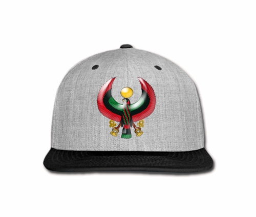 Men's Heather Grey and Black Heru Snap Back (Flexstyle Logo)