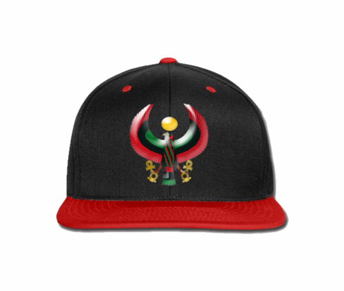 Men's Black and Red Heru Snap Back (Flexstyle Logo)