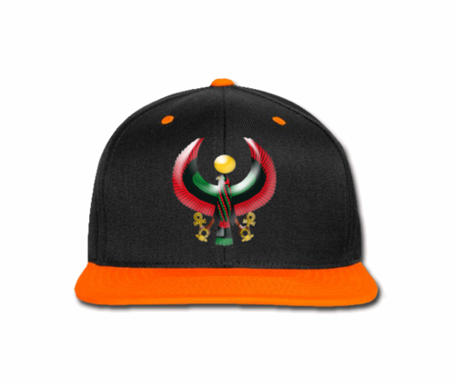 Men's Black and Orange Heru Snap Back (Flexstyle Logo)