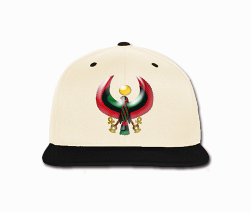 Men's Cream and Black Heru Snap Back (Flexstyle Logo)