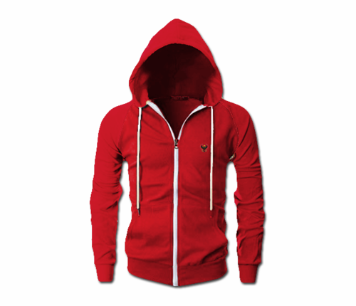 Men's Red Heru Slim Fit Lightweight Hoodie (Long Sleeve,Full Zipper)