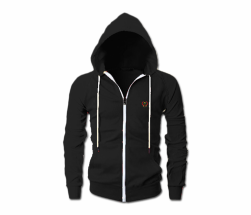 Men's Black Heru Slim Fit Lightweight Hoodie (Long Sleeve,Full Zipper)