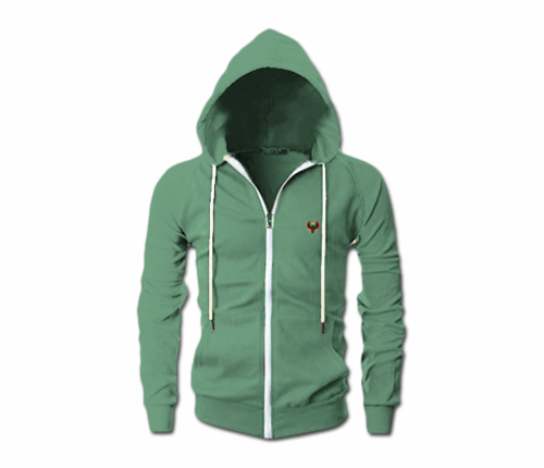 Men's Jade Green Heru Slim Fit Lightweight Hoodie (Long Sleeve,Full Zipper)