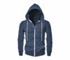 Men's Blue Melange Heru Slim Fit Lightweight Hoodie (Long Sleeve,Full Zipper)