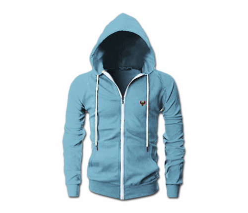 Men's Sky Blue Heru Slim Fit Lightweight Hoodie (Long Sleeve,Full Zipper)