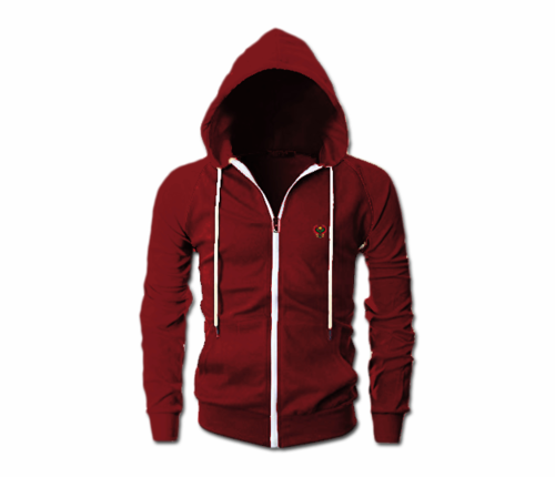 Men's Maroon Heru Slim Fit Lightweight Hoodie (Long Sleeve,Full Zipper)