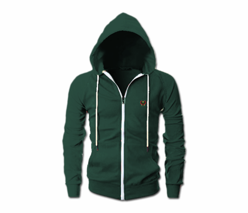 Men's Forest Green Heru Slim Fit Lightweight Hoodie (Long Sleeve,Full Zipper)