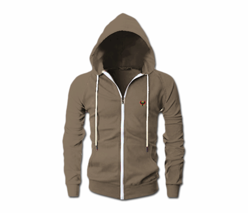 Men's Heather Brown Heru Slim Fit Lightweight Hoodie (Long Sleeve,Full Zipper)