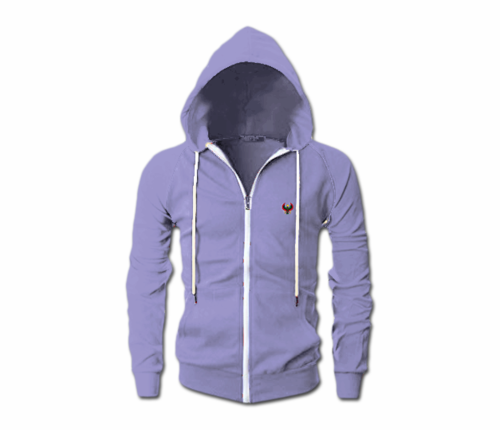 Men's Lavender Heru Slim Fit Lightweight Hoodie (Long Sleeve,Full Zipper)