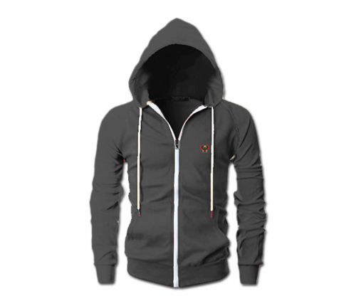 Men's Charcoal Grey Heru Slim Fit Lightweight Hoodie (Long Sleeve,Full Zipper)