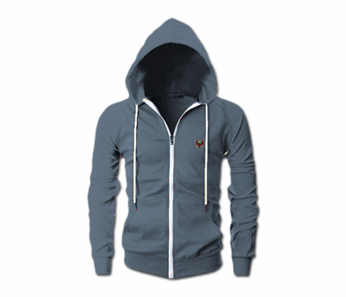 Men's Heather Blue Slim Fit Lightweight Hoodie (Long Sleeve,Full Zipper)