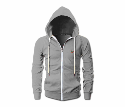 Men's Athletic Grey Heru Slim Fit Lightweight Hoodie (Long Sleeve,Full Zipper)