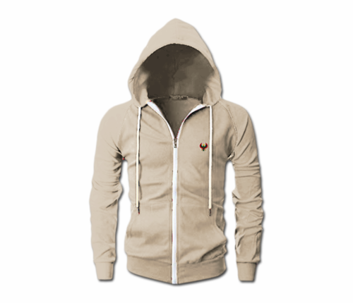 Men's Oatmeal Heru Slim Fit Lightweight Hoodie (Long Sleeve,Full Zipper)