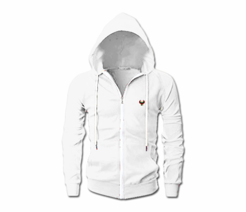 Men's White Heru Slim Fit Lightweight Hoodie (Long Sleeve,Full Zipper)