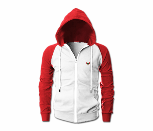 Men's White and Red Heru Slim Fit Lightweight Hoodie (Long Sleeve,Full Zipper
