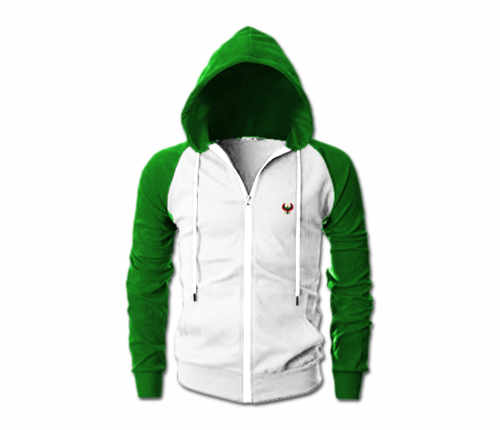 Men's White and Green Heru Slim Fit Lightweight Hoodie (Lg Slve,Full Zip)