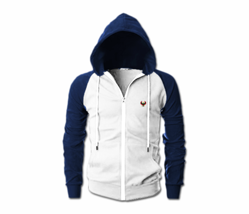 Men's White and Navy Blue Heru Slim Fit Lightweight Hoodie (Lg Slve,Full Zip)