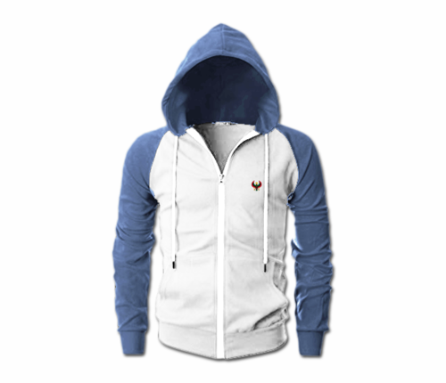 Men's White and Melange Blue Heru Slim Fit Lightweight Hoodie (Lg Slv,Full Zip)