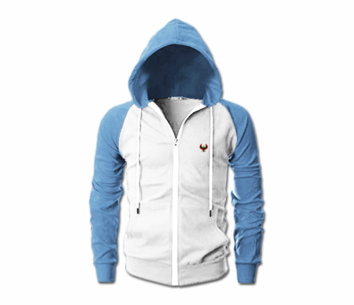 Men's White and Sky Blue Heru Slim Fit Lightweight Hoodie (Lg Slve,Full Zip)