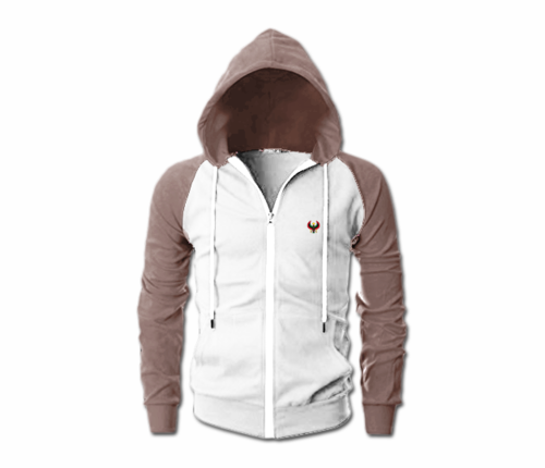 Men's White and Brown Heru Slim Fit Lightweight Hoodie (Lg Slve,Full Zip)