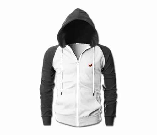 Men's Heru White and Charcoal Grey Slim Fit Lightweight Hoodie (Lg Sl,Full Zip)