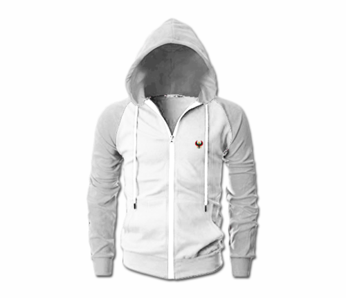 Men's White and Grey Heru Slim Fit Lightweight Hoodie (Long Sleeve,Full Zipper)