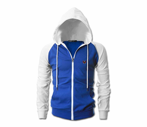 Men's Royal Blue and White Heru Slim Fit Lightweight Hoodie (Lg Slve,Full Zip)