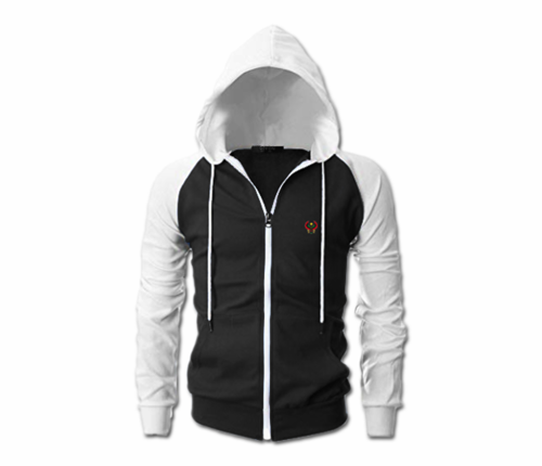Men's Black and White Heru Slim Fit Lightweight Hoodie (Long Sleeve,Full Zip)