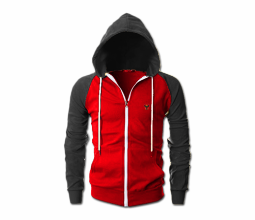 Men's Red and Charcoal Grey Heru Slim Fit Lightweight Hoodie (Lg Slve,Full Zip)