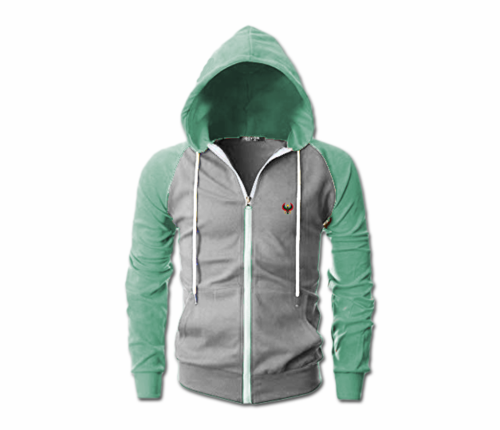 Men's Heather Grey and Jade Green Heru Slim Fit Lightweight Hoodie (Lg  S,Fl Z)