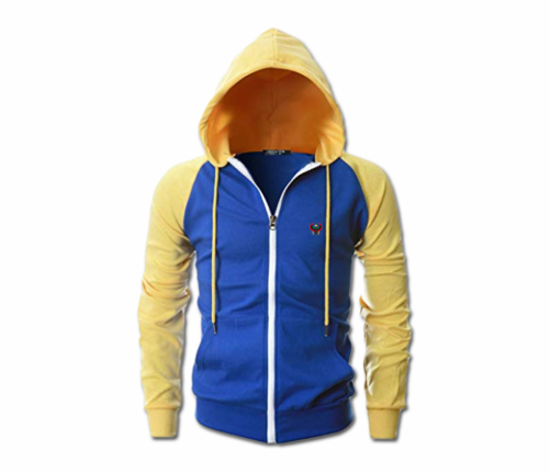 Men's Royal Blue and Yellow Heru Slim Fit Lightweight Hoodie (Lg Slve,Full Zip)