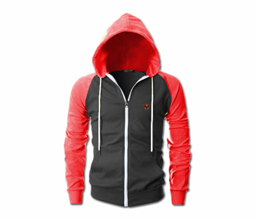 Men's Chrcoal Grey and Red Heru Slim Fit Lightweight Hoodie (Lg Slve,Full Zip)