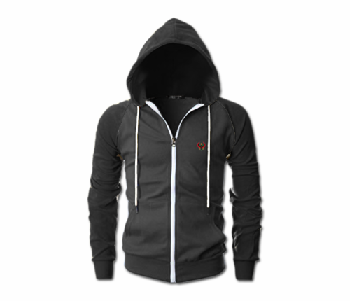 Men's Charcoal Grey and Black Heru Slim Fit Lightweight Hoodie (Lg Sl,Full Zip)
