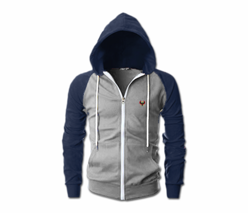 Men's Heather Grey and Navy Blue Heru Slim Fit Lightweight Hoodie (Lg Sl,Fl Zp)