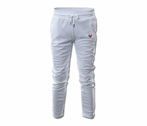 Mens White Heru Slim Fit Lightweight Sweatpant  (with Draw String)