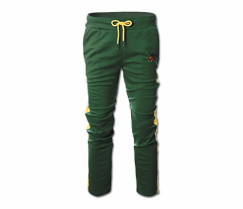 Men's Green and Yellow Heru Slim Fit Lightweight Sweatpant (with Draw String)