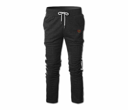Men's Charcoal Grey and White Heru Slim Fit Lightweight Sweatpant (Draw String)