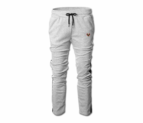 Men's Heather Grey and Black Heru Slim Fit Lightweight Sweatpant (Draw String)