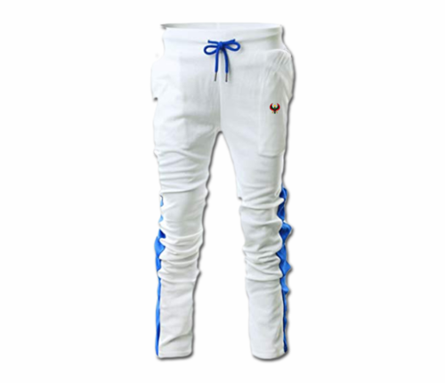 Men's White and Royal Blue Heru Slim Fit Lightweight Sweatpant (Draw String) Close