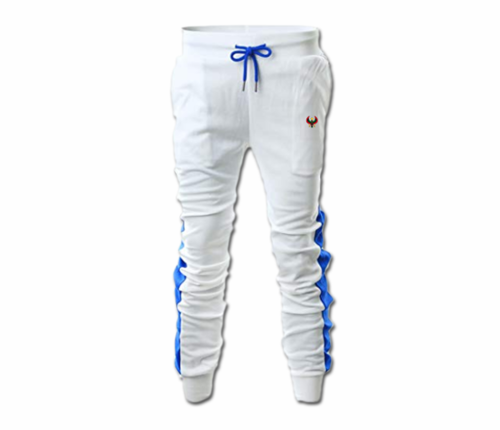 Men's White and Royal Blue Heru Slim Fit Lightweight Sweatpant (Tapper Bottom)