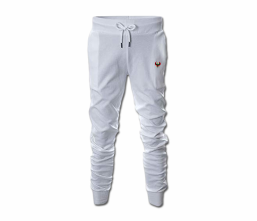 Men's White Heru Slim Fit Lightweight Sweatpant with Tapper Bottom Close
