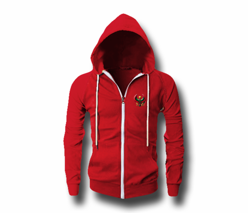 Men's Red Heru (Flex Logo) Slim Fit Lightweight Hoodie (Long Sleeve,Full Zipper)