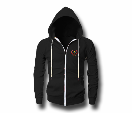 Men's Black Heru (Flex Logo) Slim Fit Lightweight Hoodie (Long Sleeve,Full Zipper)