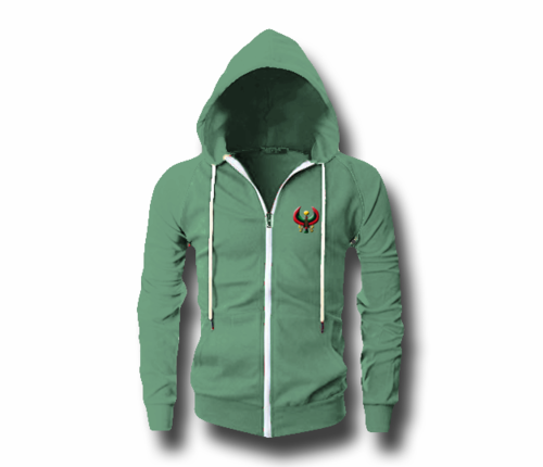 Men's Jade Green Heru (Flex Logo) Slim Fit Lightweight Hoodie (Long Sleeve,Full Zipper)