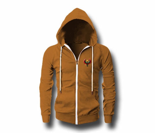 Men's Camel Heru (Flex Logo) Slim Fit Lightweight Hoodie (Long Sleeve,Full Zipper)