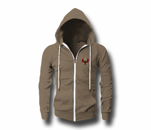 Men's Heather Brown Heru (Flex Logo) Slim Fit Lightweight Hoodie (Long Sleeve,Full Zipper)