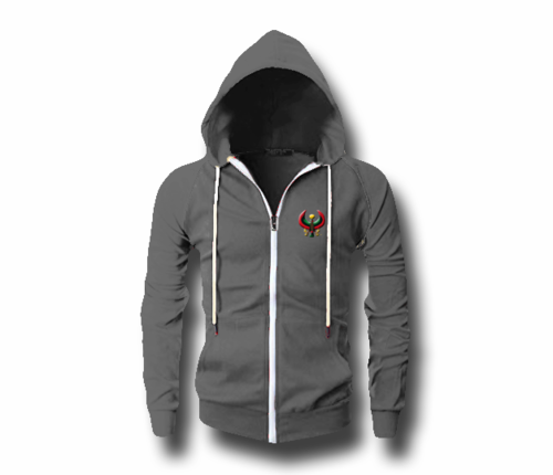 Men's Charcoal Grey Heru (Flex Logo) Slim Fit Lightweight Hoodie (Long Sleeve,Full Zipper) $55.00 *