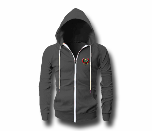 Men's Deep Heather Grey Heru (Flex Logo) Slim Fit Lightweight Hoodie (Long Sleeve,Full Zipper)