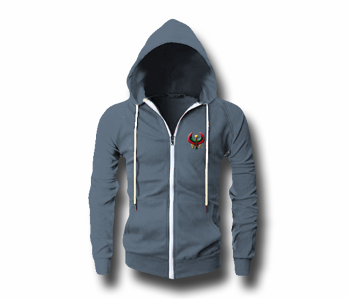 Men's Heather Blue Heru (Flex Logo) Slim Fit Lightweight Hoodie (Long Sleeve,Full Zipper)