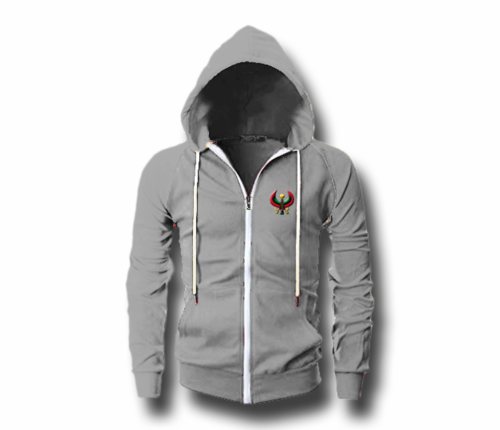 Men's Athletic Grey Heru (Flex Logo) Slim Fit Lightweight Hoodie (Long Sleeve,Full Zipper)